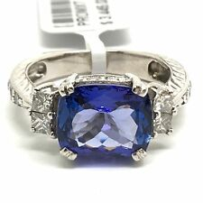 14K White Gold Natural Tanzanite And Diamond Ring.