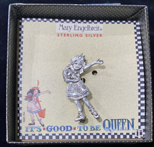 """Mary Engelbreit 925 Sterling Silver Pin """"Its Good To Be Queen"""" Brooch New In Box"""