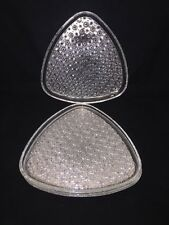 """SET OF 4 SNACK PLATES WITH ROUND CUP HOLDER SPOT-8.75"""" TRIANGLE SHAPE-BEAUTIFUL"""