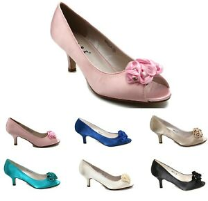 WOMENS SATIN WEDDING SHOES BRIDESMAID PARTY KITTEN LOW HEEL SANDALS SIZE 3-8