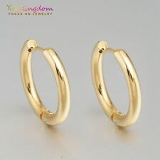 Smooth Gold Color Gold Plated Lady Girl Ear Jewelry Hoop Earrings