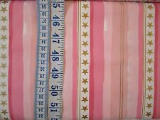 Michael Miller pink/candy stripes + gold stars fabric 100% cotton pe Fat Quarter