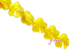 Glass Bead Flower Crystal Yellow Faceted 15mm 13 pcs DIY Jewelry Making