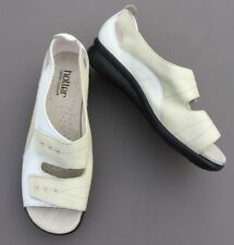 Hotter Florence 100% Leather Women Sandals 4 37 Cream Nude Wedge Summer Holiday