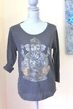 NWT LUCKY BRAND WOM M Ganesh ELEPH Graphic Metallic Shirt TOP GRAY 3/4 SL VINTAG