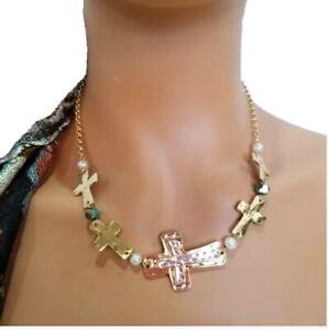 "Gold Inspirational Necklace Cross Religious Studio S 19"""