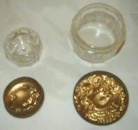 VINTAGE  2 DECO COSMETICS TRINKET JARS dresser/vanity Pressed GLASS METAL LID