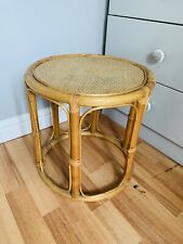 Vintage Bamboo Wicker Rattan Round Plant Stand Coffee Table Stool Boho Tiki