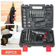 45pcs Cordless Electric Screwdriver Rechargeable Drill Kit Household Battery Bit