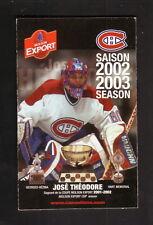 Jose Theodore--2002-03 Montreal Canadiens Pocket Schedule--Molson Export