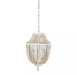METAL CHANDELIER WITH WOOD BEADS, DISTRESSED NATURAL