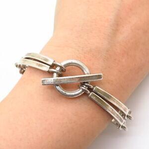 """925 Sterling Silver Curved Double Bar Design Link Bracelet 6 3/4"""""""