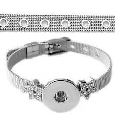 Bracelet Enfant Femme étoile Strass pour Bouton pression Snap Acier Inoxydable