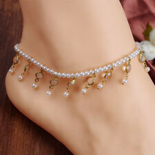 NEW Ladies Barefoot Sandal Pearl Anklet Crystal Tassel Ankle Bracelet Foot Chain