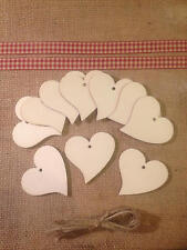 10 Large Wooden Heart Gift Tags / Wedding Favours / 60mm x 56mm