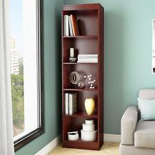 "Cherry Finish 71"" Vertical Slim 5 Shelf  Bookcase Home Office Living Furniture"