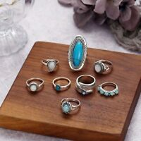 8Pcs/set Silver Plated Turquoise Opal Rings Natural Retro Gemstone Ring
