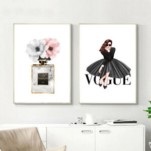 Vogue Lady Canvas Wall Art Poster Flower Perfume Painting Modern Girl Room Decor