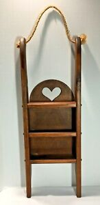 Vintage Heart Shelves 3 Tier Solid Wood, Country Farmhouse