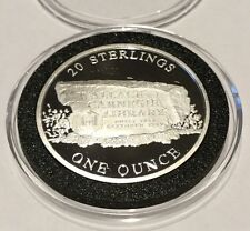 20 Sterling Wallace Carnegie Library 1 Troy Oz .999 Fine Silver Round Proof Coin