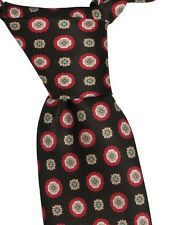 BRIONI Italy Men's Brand New Brown Red 100% Silk Floral Skinny Neck Tie 3 Inches