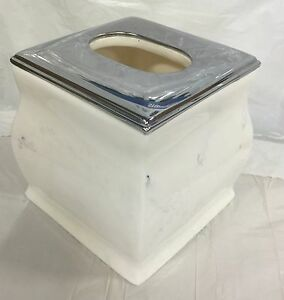 Brand New Ceramic Resin square tissue cover Tissue holder white with chrome top.