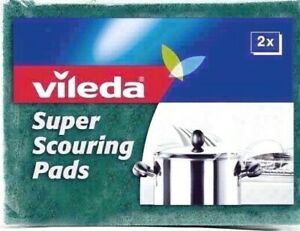 4 x Vileda Super Scouring Pads Powerful Scourer Heavy Duty Kitchen Cleaning New