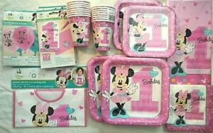 MINNIE MOUSE Fun To Be One 1st Birthday Party Supply SUPER Kit Bib,Balloons Inv