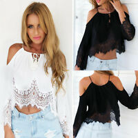 Womens Lace Crochet Cropped Tops Cami T-Shirt Ladies Cold Shoulder Tee Blouse