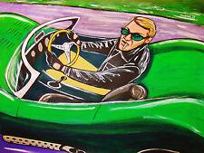 STEVE MCQUEEN PRINT poster  vintage 1956 jaguar xkss racing car leather jacket