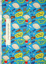 Family Guy Cotton Fabric By The Yard Stewie Griffin TV Character Toss Aqua