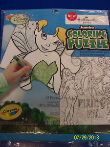 RARE Tinker Bell Disney Fairy Pixie Birthday Party Favor Jumbo Coloring Puzzle