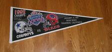 1992 Super Bowl XXVII pennant Dallas Cowboys vs Buffalo Bills RARE SB 27