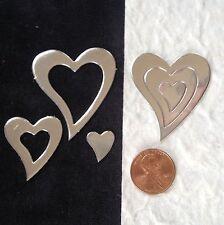 150 Hearts Diecut Silver metallic heart 25th Anniversary wedding Card Valentines