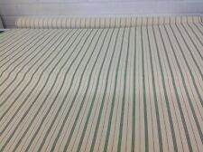Vintage Style Ticking Stripe  Twill Fabric - 100% Cotton  - Green Stripes