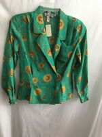 NWT SK & Co. Long Sleeve Double Breasted Blouse Green & Gold Size 6