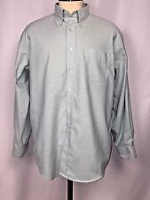 Lands End Mens Business Casual Button Front Shirt Mint Green Size 17-34 R