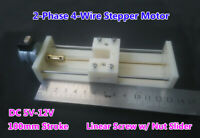 5V-12V DC 2-Phase 4-Wire Stepper Motor Linear Screw Slider Actuator 100mm Strok