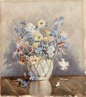 STILL LIFE FLOWERS IN VASE Watercolour Painting JOWETT - 20TH CENTURY