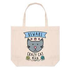Tenga cuidado con Crazy Cat Hombre Bolsón Bolso de Playa Grande-animales graciosos hombro Gatito
