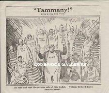 Prohibition COMIC CARTOON HANDBILL 1921 Political WILLIAM TAFT  Tamany Yellow
