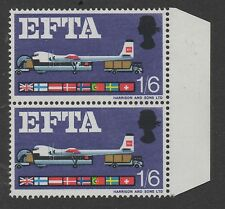 1967 EFTA (ord). 1s 6d vertical pair 1 with broken strut variety. MNH. Cat £40+