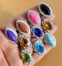 MIX GEMS WHOLESALE LOT 10PC 925 STERLING SILVER OVERLAY RING VERY GOOD JEWELS