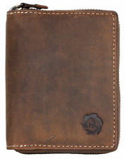 Men's large metal zip-around natural genuine leather wallet. Worldwide shipping