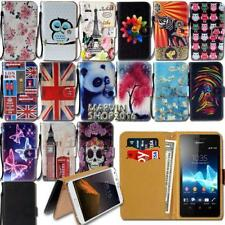 Leather Wallet Card Stand Flip Case Cover For Sony Xperia Z 1/2/3/4/5 Phones