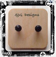 Shamballa Bead Surgical Ball 8mm Stud Earrings - Black