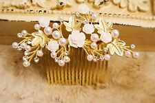 Gold Wedding Bridal Hair Accessory Rose Pearl Hair Combs Home-coming Bride Maid