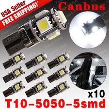 10PCS White T10 5SMD 5050 LED CANBUS ERROR FREE Interior Light Bulbs W5W 194 168