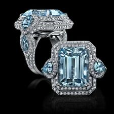 Aqua Emerald Pear Shaped CZ 925 Sterling Silver Highend Cocktail Ring for Women