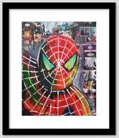 """Original Mixed Media Marvel's Spider-man Painting 16""""x20"""" Canvas Pop Comics Art"""